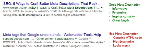 Good and bad meta descriptions examples in the Google search results